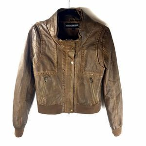 Members Only S Brown Bomber Jacket Faux Leather